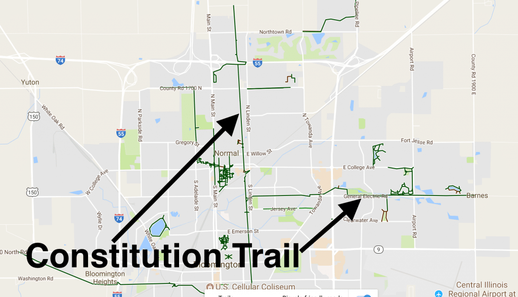 consution trail through bloomington and normal illinois
